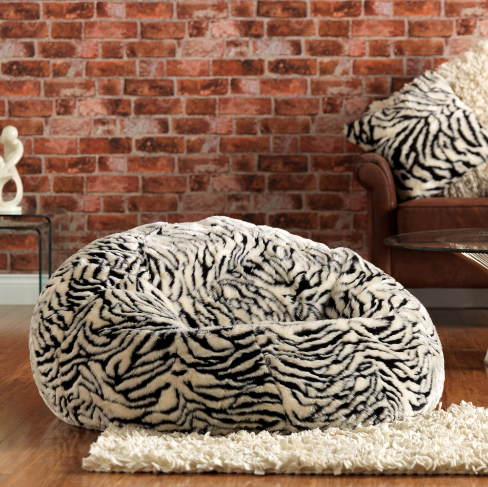 ICON™ Luxury Faux Fur XL Bean Bag Zebra