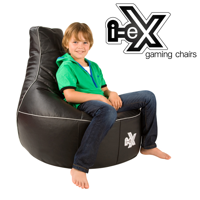 sc 1 st  Bean Bag Bazaar & i-eX Rookie Kids Gaming Chair Black/Silver