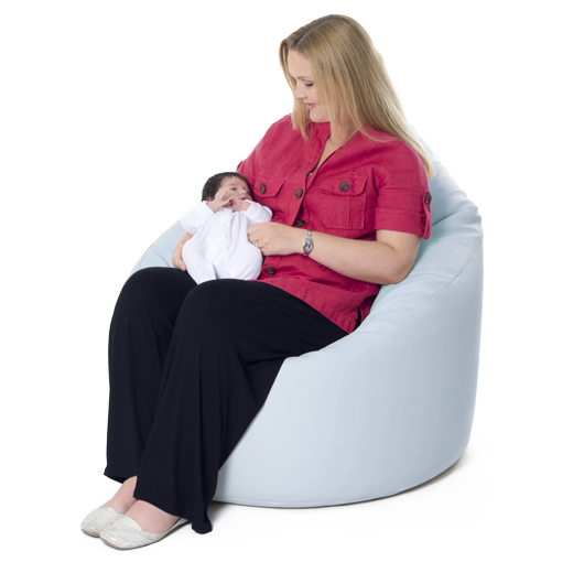 XXL Adult Bean Bag Chair Faux Leather Baby Blue