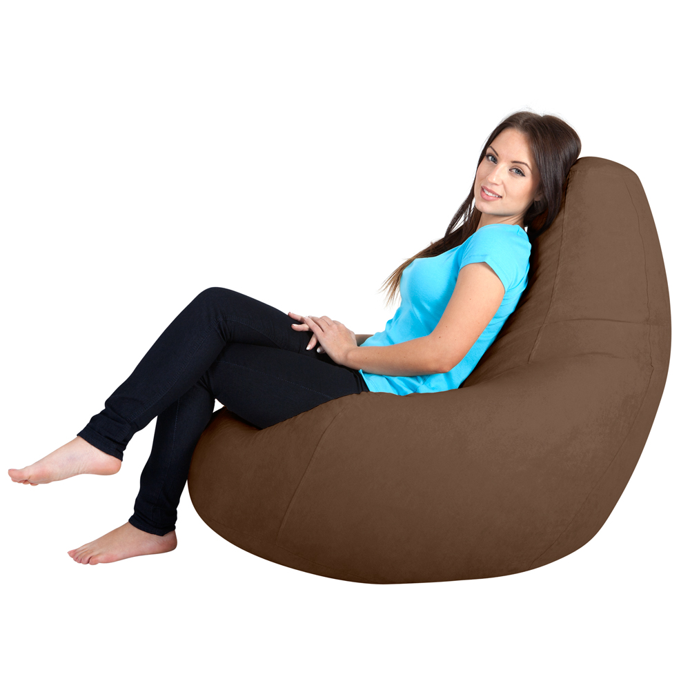 Image of Gaming Bean Bag Recliner Faux Suede Chocolate