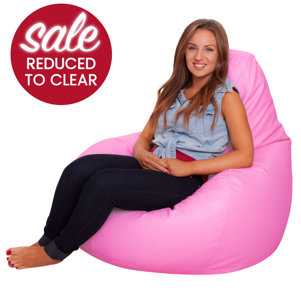 Image of Gaming Bean Bag Recliner Faux Leather Pink