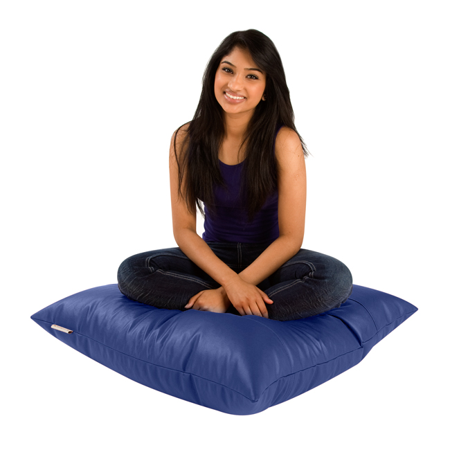Image of Square Bean Bag Floor Cushion Faux Leather Blue