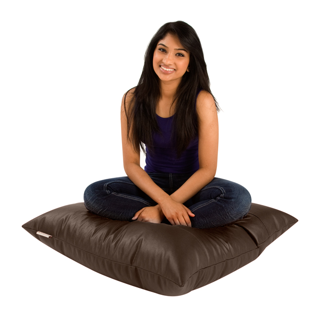 Image of Square Bean Bag Floor Cushion Faux Leather Brown