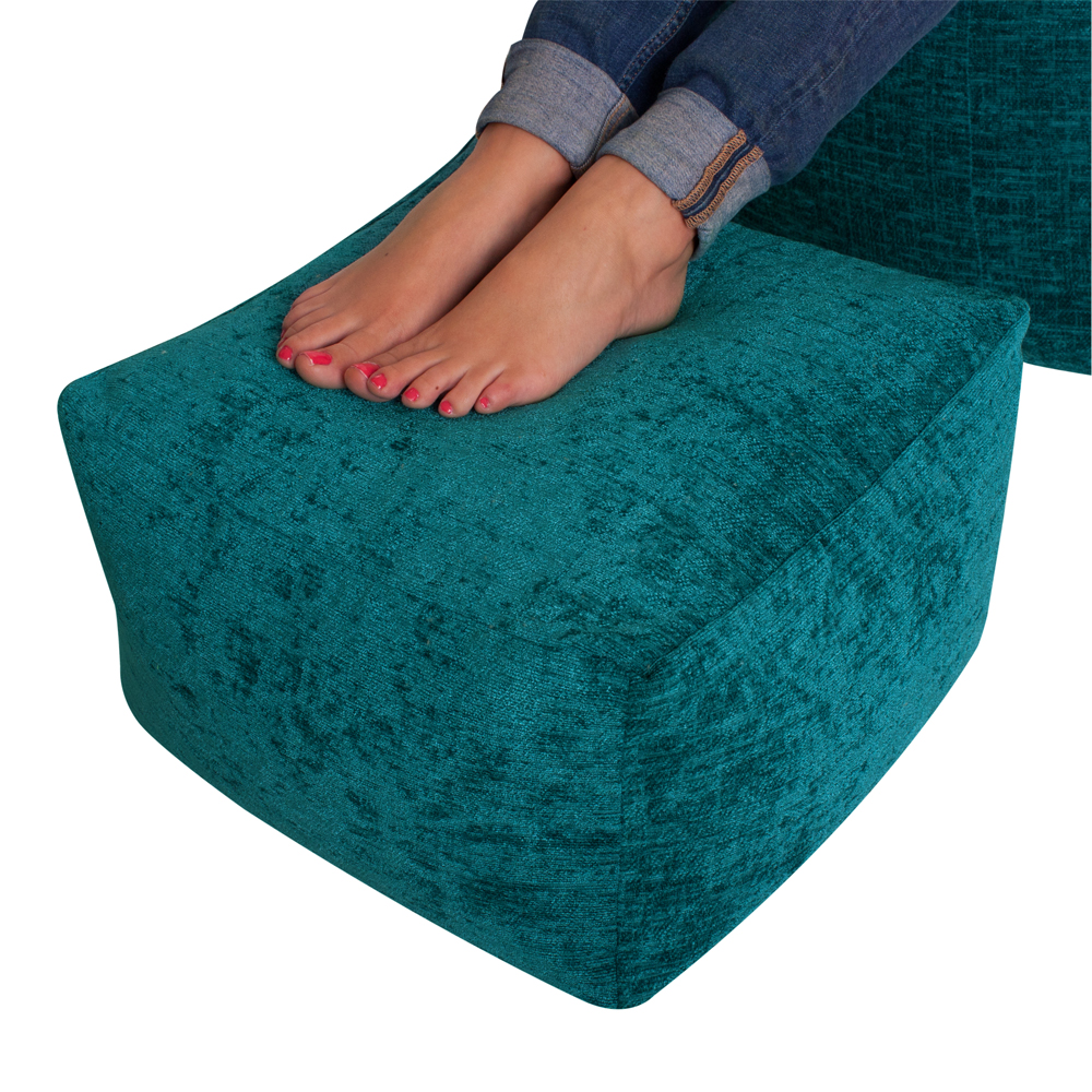Image of Luxury Chenille Square Bean Bag Footstool Teal
