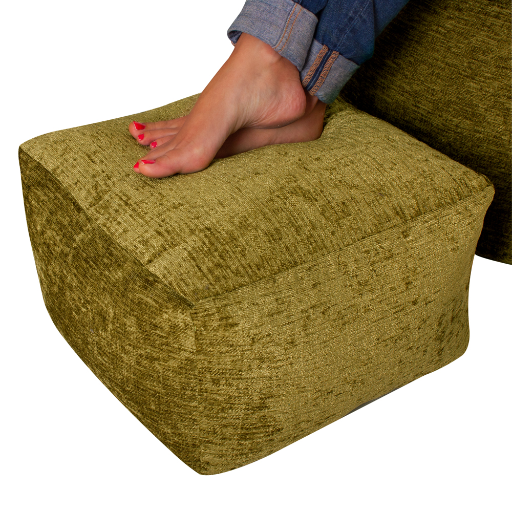 Image of Luxury Chenille Square Bean Bag Footstool Moss Green