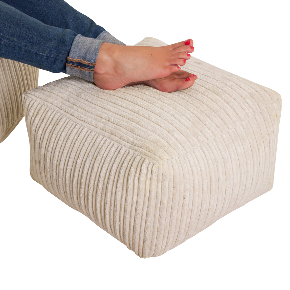 Image of Luxury Microplush Cord Square Bean Bag Footstool Natural