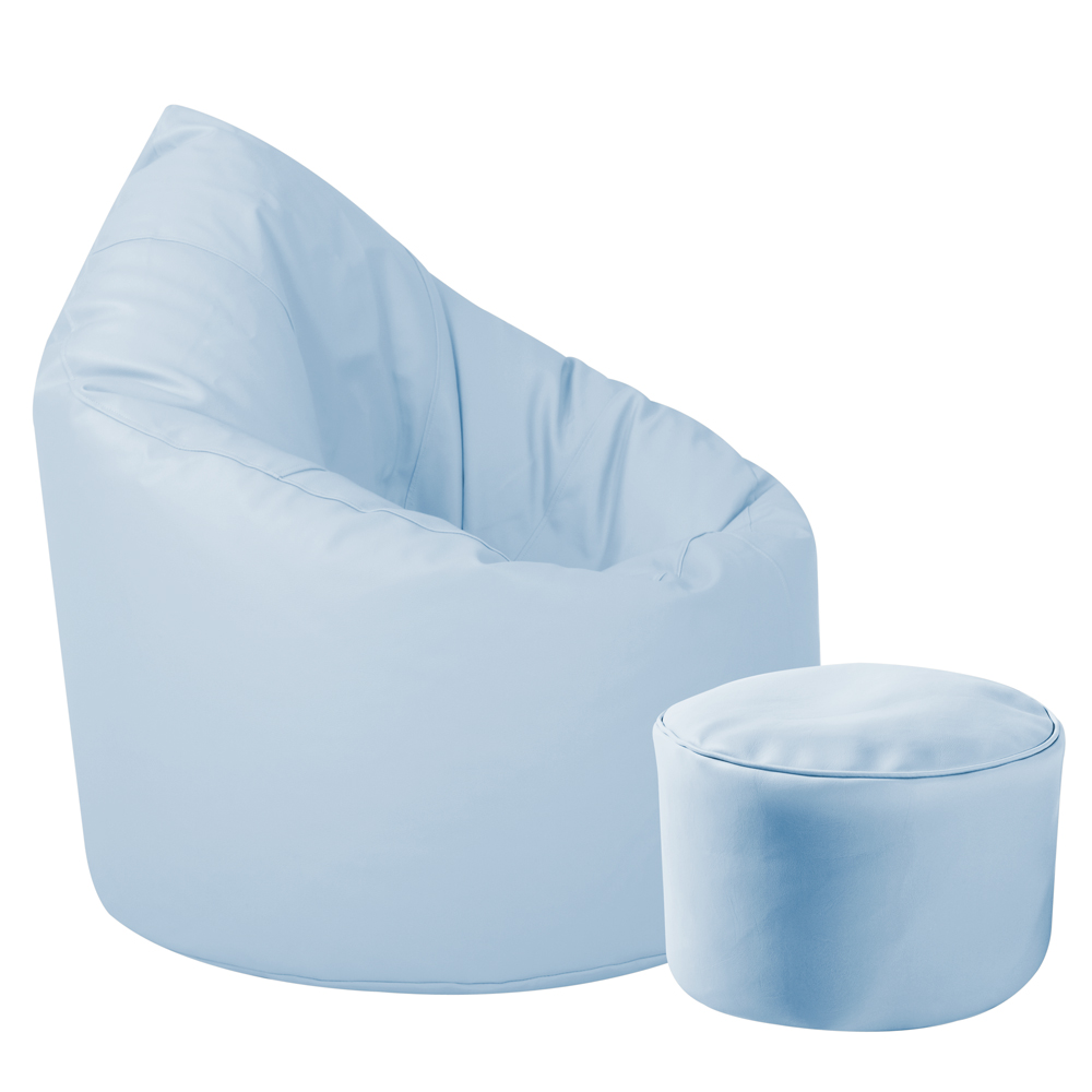 Image of Baby Blue XXL Bean Bag & Footstool Bundle Faux Leather
