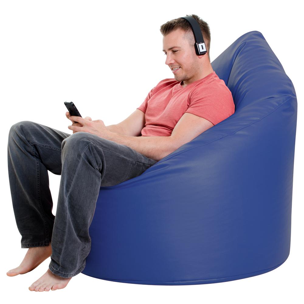 XXL Adult Bean Bag Chair Faux Leather BLUE