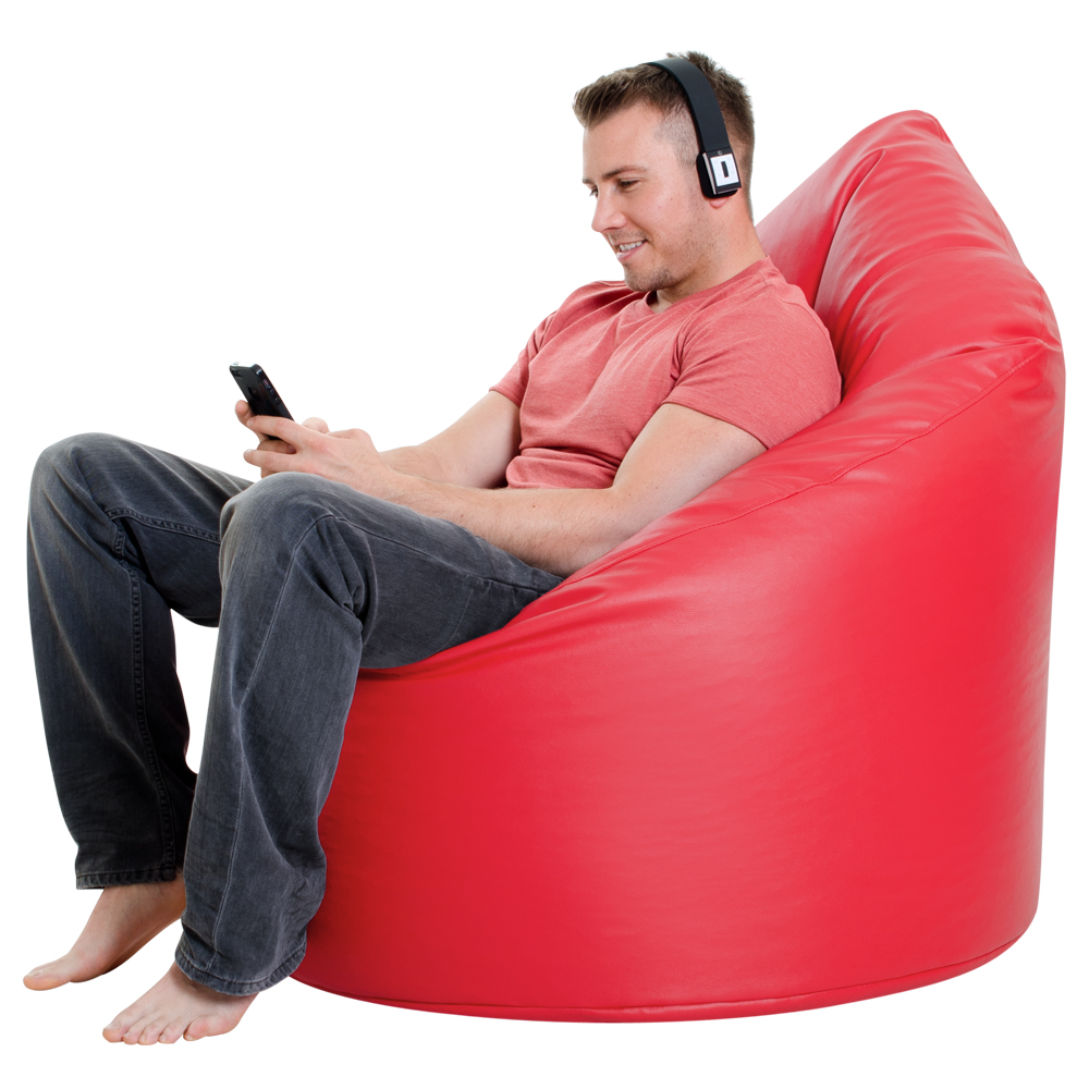 XXL Adult Bean Bag Chair Faux Leather RED