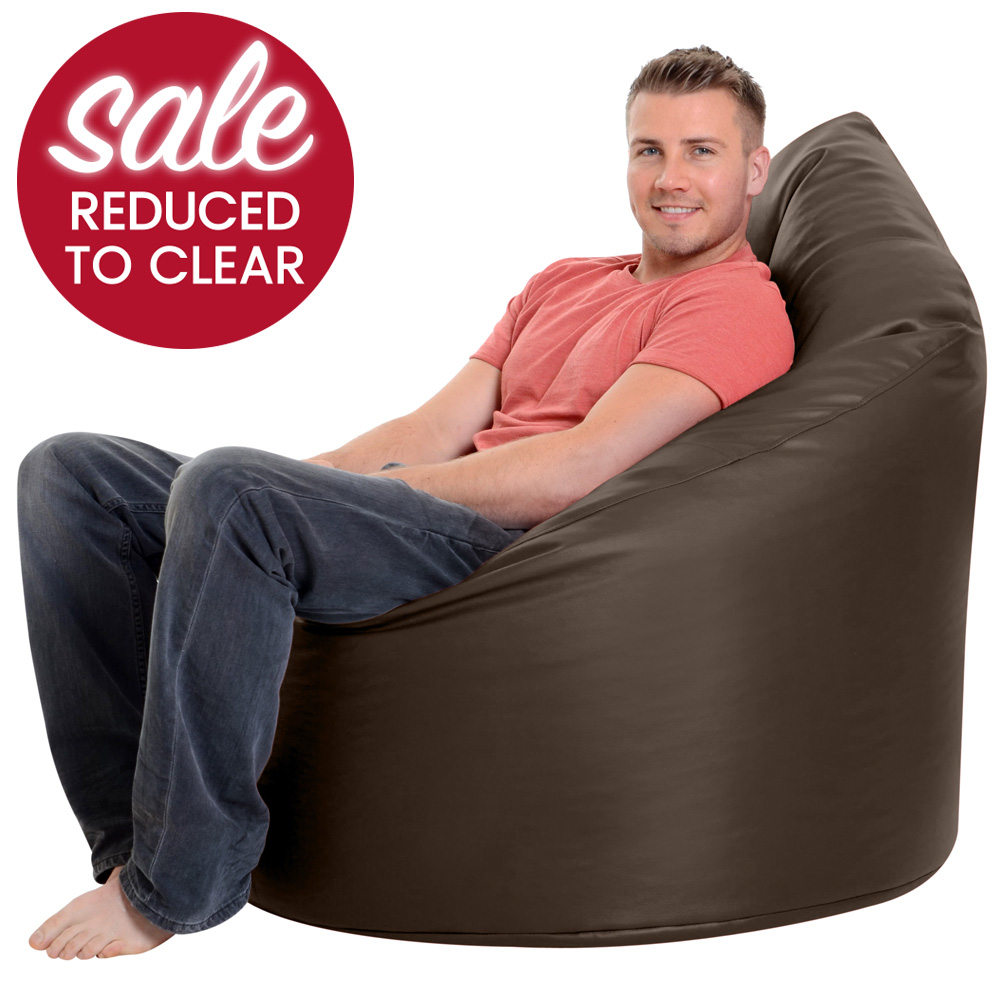 XXL Adult Bean Bag Chair Faux Leather Brown