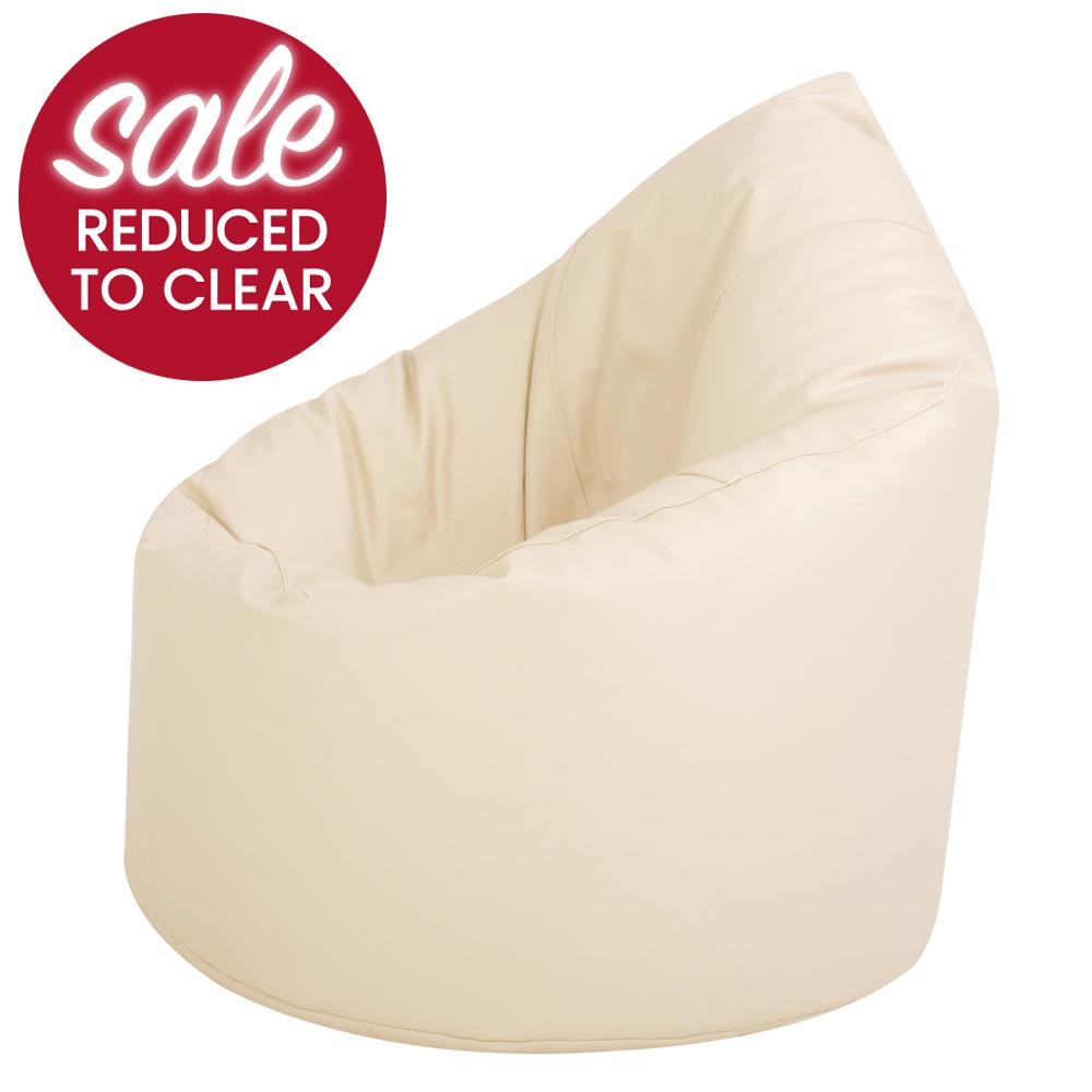 XXL Adult Bean Bag Chair Faux Leather Cream