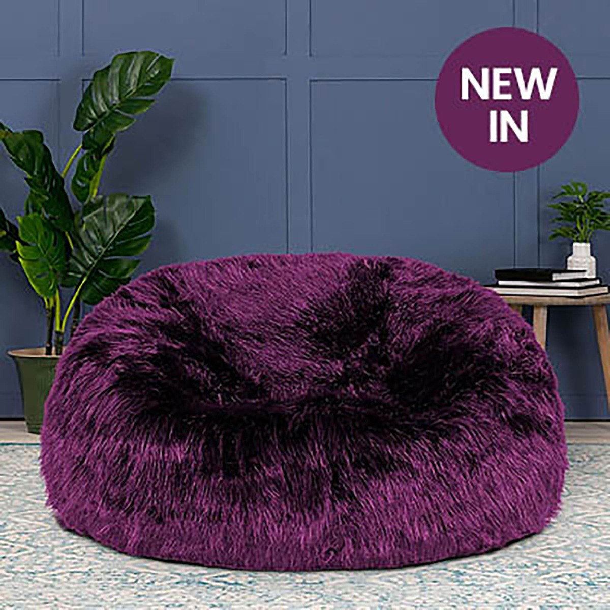 Purple Faux Fur Bean Bag