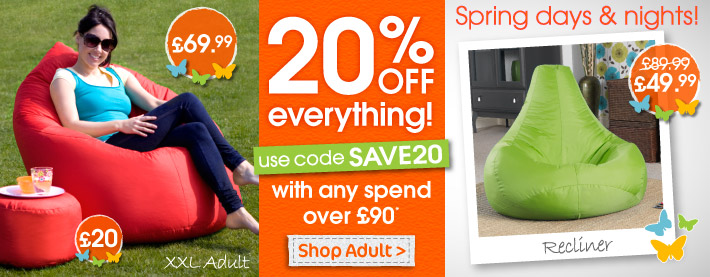 Save Extra 20% on Adult Bean Bags