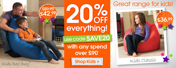 Save Extra 20% on Kids Bean Bags