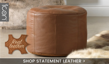 Real Leather Pouffe Footstool - banner