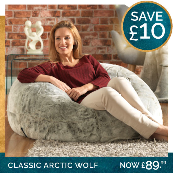 Faux Fur Arctic Wolf Bean Bag