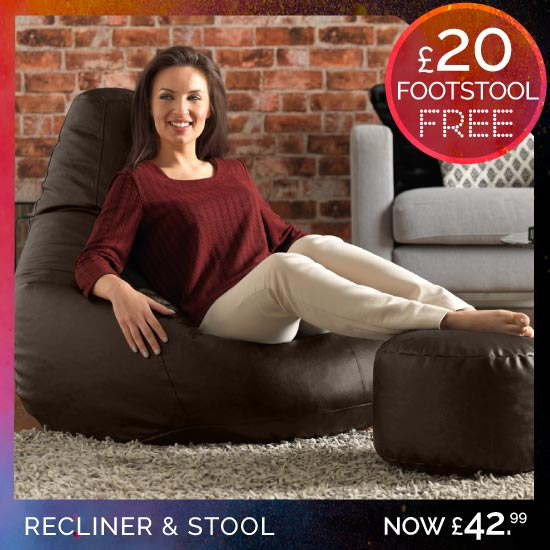 Faux Leather Recliner and Free Footstool
