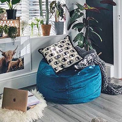home office velvet bean bag