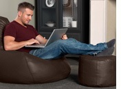 Luxury Real Leather Bean Bag Footstool