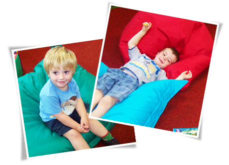 Children on Bean Bags.